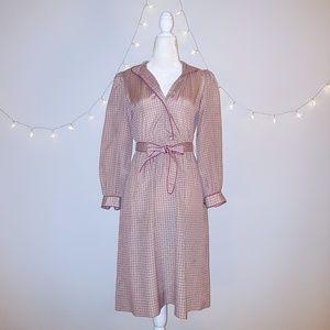 Vintage Leslie Fay 4 Petite Silky Belt Dress LkNew